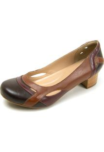 Sapato Retrô Salto Quadrado Dhl Feminino Marrom E Vinho - Kanui
