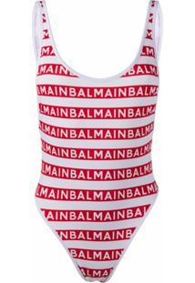 Balmain Maiô Com Padronagem De Logo - Branco