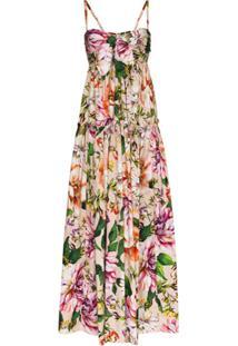 Dolce & Gabbana Vestido Longo Floral Com Amarração Frontal - Rosa