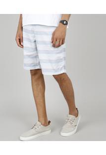 Bermuda Masculina Slim Listrada Com Cordão E Bolsos Branca