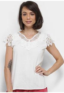Blusa Sofia Fashion Guipir Pérolas Bordada Feminina - Feminino-Branco