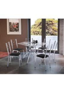 Conjunto De Mesa De Cozinha Com 6 Cadeiras Vick Couro Sintético Preto