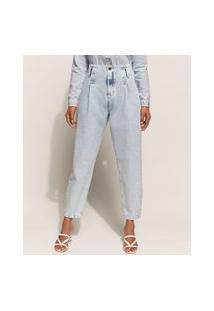 Calça Jeans Feminina Baggy Cintura Super Alta Marmorizada Azul Claro