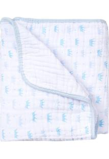 Cobertor Papi Soft Coroa- Branco & Azul Claro- 80X10Papi