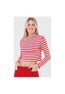 Blusa Cropped Cantão Listrada Vermelha/Bege