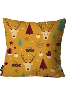 Capa Para Almofada Mdecor De Natal Renas Amarelo