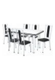 Conjunto De Mesa De Jantar Com 6 Cadeiras Marina Corino Branco E Preto