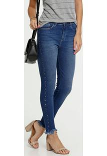 Calça Jeans Destroyed Skinny Tachas Feminina Marisa