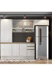 Cozinha Completa 6 Portas 3 Gavetas Itália A2194 Casamia Snow/Snow