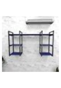 Estante Industrial Escritório Aço Cor Preto 120X30X68Cm (C)X(L)X(A) Cor Mdf Azul Modelo Ind29Azes