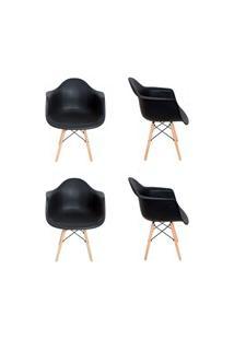 Kit 4 Cadeiras Eiffel Melbourne F01 Preta Com Pés Palito Em Madeira -