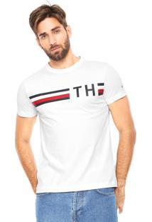 Camiseta Tommy Hilfiger Striped Logo Branca