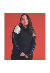 Jaqueta Feminina Plus Size Com Capuz Rovitex Plus Preto