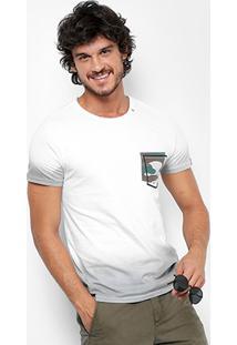 Camiseta Replay Degradê Militar Masculina - Masculino-Branco