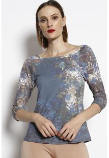 Blusa Floral - Azul Escuro & Marromcotton Colors Extra