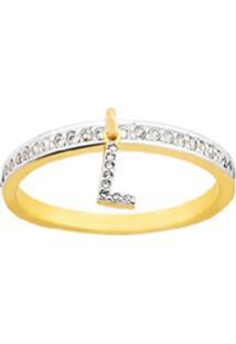 Anel La Madame Co Sweety Letra L Banhado A Ouro 18K Dourado