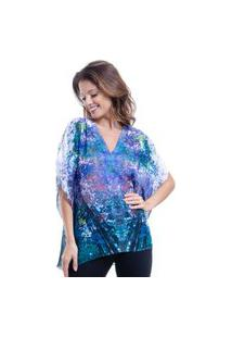 Blusa 101 Resort Wear Ponch Tunica Crepe Decote V Estampada Azul