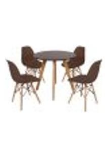 Mesa Laura 80Cm Preta + 4 Cadeiras Eames Eiffel - Marrom