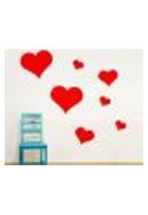 Adesivo De Parede Dia Dos Namorados. Kit Corações - P 20X40Cm