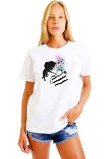 Camiseta Joss Feminina Estampada Galaxy Girl - Feminino-Branco