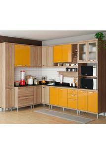 Cozinha Compacta 10 Peças Com Tampo 5803-S2T - Sicília - Multimóveis - Argila / Amarelo