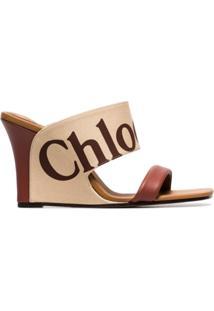 Chloé Sandália Anabela De Couro Com Logo - Neutro