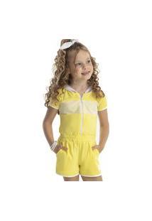 Macacão Curto Amarelo Hi! Angel 8 Amarelo