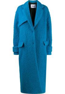 Msgm Casaco Oversized Com Abotoamento Simples - Azul