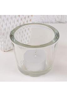Castiçal Porta-Vela Redondo Vidro Incolor Transparente 8,0X6,0Cm