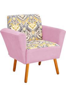 Poltrona Decorativa D'Rossi Dora Estampado D77 Com Suede Rosa Bebê