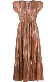 Ulla Johnson Vestido Metalizado Com Pregas - Rosa