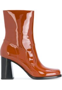 Marc Jacobs Ankle Boot De Couro Envernizado 'Ross' - Brown
