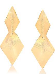 Brinco Dois Losangos Torcidos Escovado Folheado Em Ouro 18K - 2180000001709