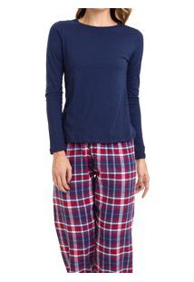 Pijama Longo Feminino Xadrez Flanelado (923/Ls223) 100% Algodão