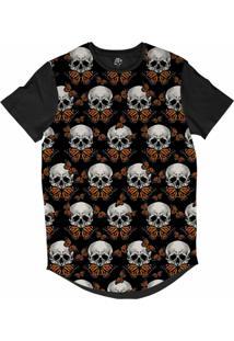 Camiseta Bsc Longline Caveira Borboleta Sublimada Preta