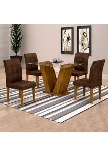 Conjunto De Mesa De Jantar Classic Com 4 Cadeiras Vitória Veludo Ypê E Marrom