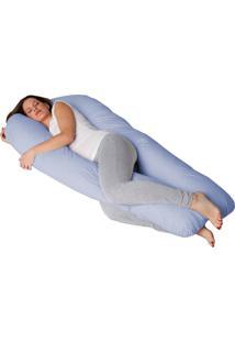 Fronha Travesseiro Gestante Formato U Azul Fassini Têxtil