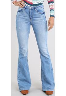 90ecff764 CEA. Calça Jeans Feminina Super Flare Cintura Super Alta Azul Claro