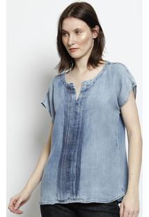 Blusa Jeans Com Pregas - Azul - Scalonscalon