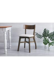 Cadeira Para Escrivaninha Estofada Bella - Castanho E Courino Offwhite Tec. A103 - 44X51X82 Cm