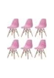 Kit 6 Cadeiras Charles Eames Eiffel Rosa Claro Base Madeira Sala Cozinha Jantar
