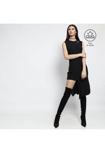 Vestido Assimétrico Com Zíperes - Preto - Versaceversace