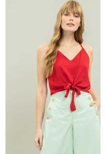 Blusa Cropped Com Laço Vermelho Chilli - Lez A Lez