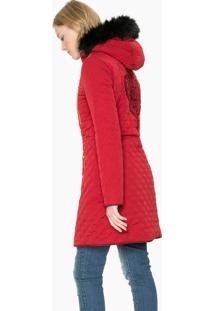 Jaqueta Desigual Alongada Pelo Vermelho