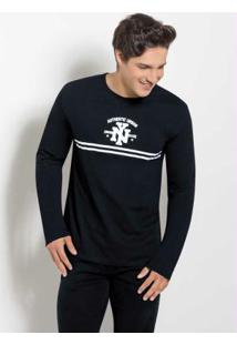 Camiseta Preta Com Manga Longa E Estampa Ny