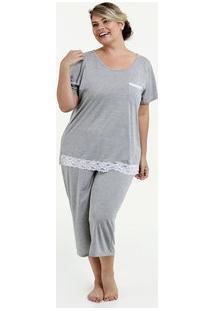 Pijama Feminino Bermudoll Plus Size Manga Curta Marisa