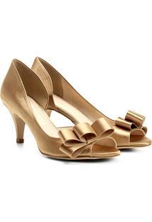 47b4498ca Peep Toe Shoestock Cetim Laço - Feminino-Dourado