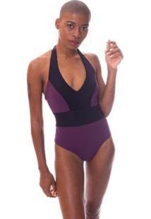 Body Moda Vício Recortes Com Bojo Feminino - Feminino-Roxo+Preto