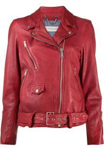 Golden Goose Leather Biker Jacket - Vermelho