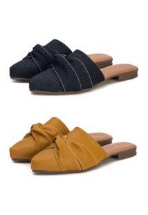 Kit Sapatilha Mule Slip Feminino Confort Bico Fino Mostarda/Jeans